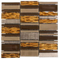 Jeffrey Court 11-3/4 in. x 12 in. Bronze Stack Glass Mosaic Wall Tile