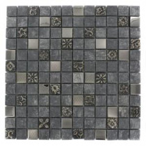 Splashback Tile Tapestry 12 in. x 12 in. Marble Glass And Metal Mosaic Floor and Wall Tile