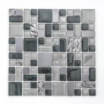 Jeffrey Court Satin Sapphire 11.875 in. x 11.875 in. Glass Metal Mosaic Wall Tile