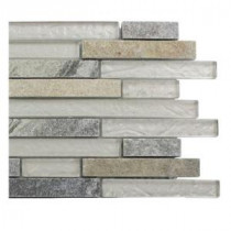 Splashback Tile Tectonic Harmony Green Quartz Slate And White Gold Glass Tiles - 6 in. x 6 in. Tile Sample