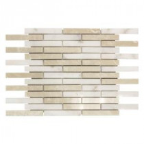 Jeffrey Court 12 in. x 14 in. Malibu Mini Brick Beige/White Marble Mosaic Wall Tile