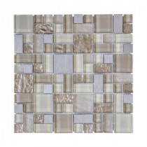 Jeffrey Court 11.875 in. x 11.875 in. Royal Glaze Glass Metal Mosaic Wall Tile