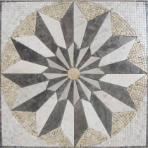 MS International Venti Blend Medallion 24 in. x 24 in. Tumbled Marble Floor & Wall Tile