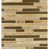 MS International 12 in. x 12 in. Pine Valley Interlocking Glass & Stone Mesh-Mounted Mosaic Tile