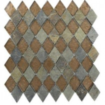 Splashback Tile Tectonic Diamond Multicolor Slate and Bronze 11 in. x 12 in. Glass Floor and Wall Tile