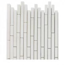 Splashback Tile Windsor 1/4 in. x Random White Thassos Pattern Marble Mosaic Tiles - 6 in. x 6 in. Tile Sample