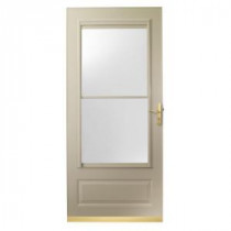 400 Series 32 in. Sandtone Aluminum Self-Storing Storm Door with Brass Hardware