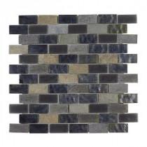 Jeffrey Court Midnight Opal Brick Glass 12 in. x 12 in. Glass Wall & Floor Tile