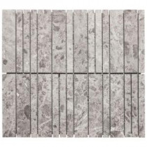 Jeffrey Court 13-3/8 in. x 12 in. Roman Sticks Grey Marble Mosaic Wall Tile