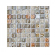 Splashback Tile Aztec Art Flaxseed Glass - 6 in. x 6 in. Tile Sample