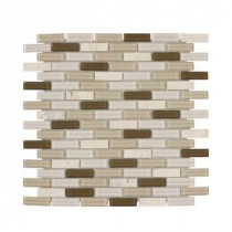 Jeffrey Court Outback Mini Brick 11.875 in. x 12.75 in. Glass/Travertine Mosaic Wall Tile