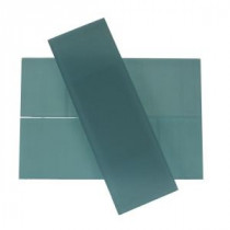 Splashback Tile Contempo 4 in. x 12 in. Blue Gray Frosted Glass Tile