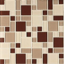 Instant Mosaic 12 in. x 12 in. Peel and Stick Beige and Brown Glass Wall Tile