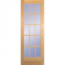 30 in. Clear Pine Wood 15 Lite French Slab Door