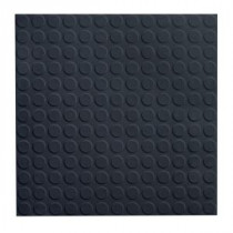 ROPPE Low Profile Circular Design Black 19.69 in. x 19.69 in. Dry Back Tile
