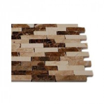 Splashback Tile Coffee Latte 1/2 in. x 2 in. Cracked Joint Classic Brick Layout Marble Mosaics - 6 in. x 6 in. Tile Sample