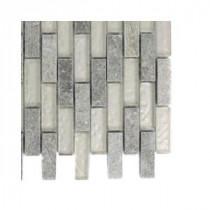 Splashback Tile Tectonic Brick Green Quartz Slate and White Gold Glass Floor and Wall Tile - 6 in. x 6 in. Tile Sample