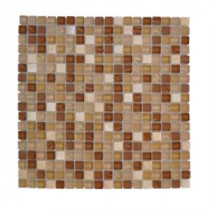 Jeffrey Court Iced Ginger 12 in. x 12 in. Tan Glass Mosaic Tile