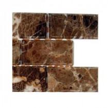 Splashback Tile Rich Dark Emperador Chamfered 2 in. x 4 in. Marble Mosaic Tiles - 6 in. x 6 in. Tile Sample