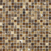 Daltile Stone Radiance Butternut Emperador 12 in. x 12 in. x 8mm Glass and Stone Mosaic Blend Wall Tile