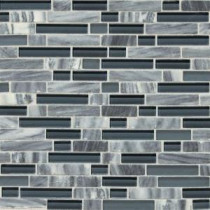 Daltile Stone Radiance Glacier Gray 11-3/4 in. x 12-1/2 in. Glass and Stone Mosaic Blend Wall Tile
