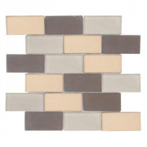 Jeffrey Court Balsamic Cold Glass 2x4 Brick 13 5/8 in. x 11 3/4 in. Glass Wall Tile