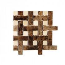 Splashback Tile Basket Braid Dark Emperador With Crema Marfil Dot Marble Mosaic - 6 in. x 6 in. Tile Sample