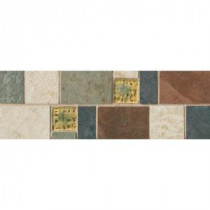 Daltile Continental Slate 4 in. x 12 in. x 6mm Porcelain Decorative Accent Mosaic Floor and Wall Tile