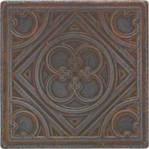 Daltile Castle Metals 4-1/4 in. x 4-1/4 in. Wrought Iron Metal Clover Insert Wall Tile