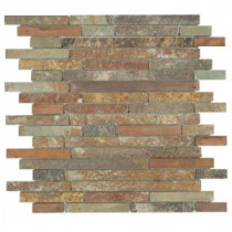 Jeffrey Court Satin Copper 11.5 in. x 12 in. Copper and Slate Mosaic Wall Tile