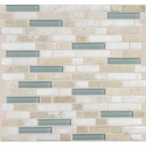 Daltile Stone Radiance Whisper Green 11-3/4 in. x 12-1/2 in. x 8 mm Glass and Stone Mosaic Blend Wall Tile