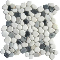 MS International 12 in. x 12 in. Black/White Pebbles Marble Mosaic Floor & Wall Tile