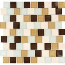 MS International Desert Mirage 1.25 in. x 1.25 in. Multicolor Mesh-Mounted Mosaic Tile