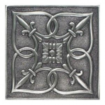 Daltile Massalia Pewter 4 in. x 4 in. Metal Fleur de Lis Wall Tile