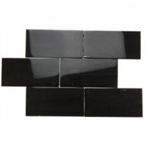 Splashback Tile Contempo Classic Black Polished 3 in. x 6 in. Glass Subway Floor and Wall Tile