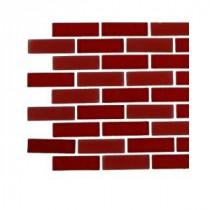 Splashback Tile Contempo Lipstick Red Brick Glass - 6 in. x 6 in. Tile Sample