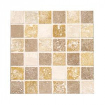 Jeffrey Court Medley 12 in. x 12 in. Cream & Brown Travertine Floor and Wall Tile