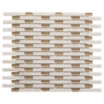 Jeffrey Court 13-5/8 in. x 11 in. White Plains Glass/White Marble Mosaic Wall Tile