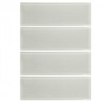 Jeffrey Court 12 in. x 3 in. Jasmine White Glass Wall Tile (1pk/4pcs/1sf)