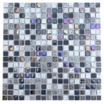Splashback Tile 12 in. x 12 in. Aztec Art City Slicker Grey Glass Tiles