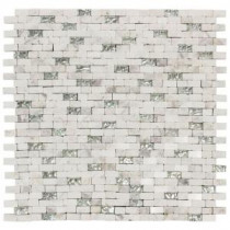 Jeffrey Court 12 in. x 12-3/4 in. Vision Mini Brick Glass/White Marble Mosaic Wall Tile