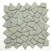 Solistone Indonesian Green Gobos 12 in. x 12 in. x 6.35 mm Pebble Mesh-Mounted Mosaic Floor and Wall Tile (10 sq. ft./case)