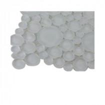 Splashback Tile Contempo Bright White Circles Glass - 6 in. x 6 in. Tile Sample