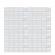 Daltile Sonterra Glass Oyster White Iridescent 12 in. x 12 in. x 6mm Glass Sheet Mounted Mosaic Wall Tile (10 sq. ft. / case)