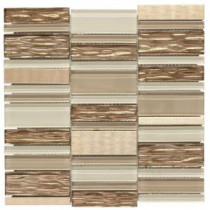 Jeffrey Court 12 in. x 11-3/4 in. Gold Bars Glass/Metal Mosaic Wall Tile