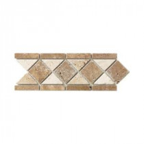 Jeffrey Court Tumbled Noce Listello 4 in. x 12 in. Travertine Floor & Wall Tile