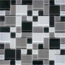 Instant Mosaic 12 in. x 12 in. Peel and Stick Gray and White Glass Wall Tile