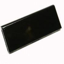 U.S. Ceramic Tile 2 in. x 6 in. Bright Black Ceramic Surface Bullnose Wall Tile