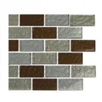 Splashback Tile Metallic Ale Blend 1 in. x 2 in. Glass Tiles - 6 in. x 6 in. Tile Sample