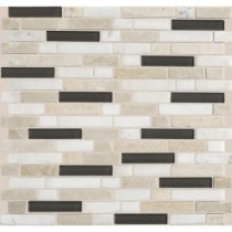 Daltile Stone Radiance Kinetic Khaki 11-3/4 in. x 12-1/2 in. x 8 mm Glass and Stone Mosaic Blend Wall Tile